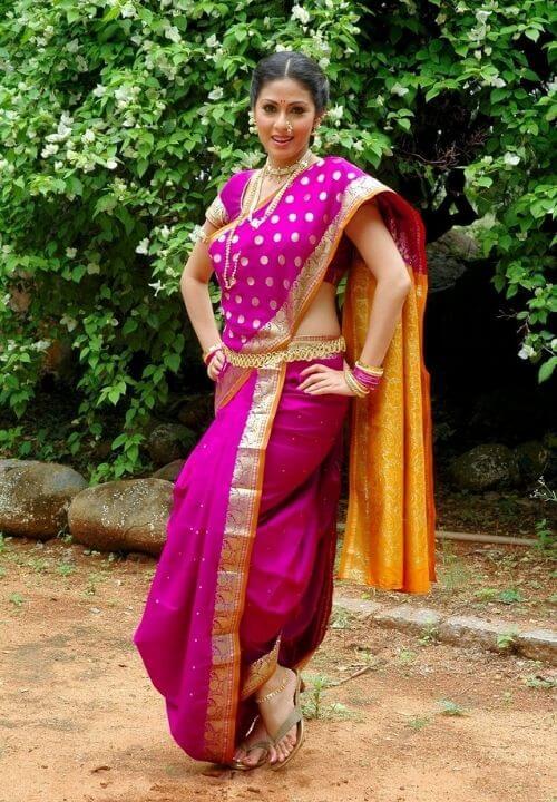 Sadha in Pink Nauvari Saree